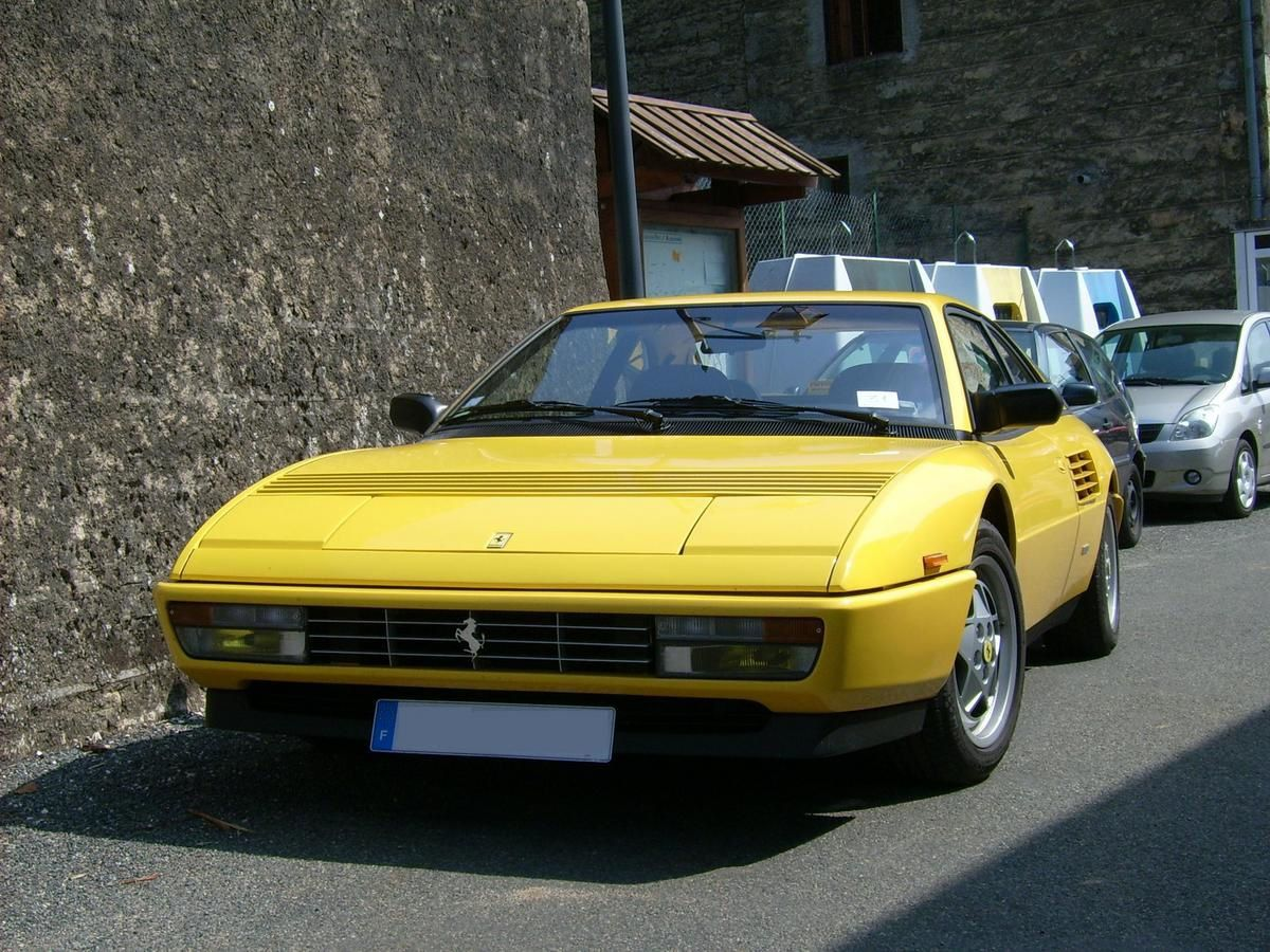 Picture of Yellow sports car Ferrari Mondial, Ferrari Mondial classic model , luxury car